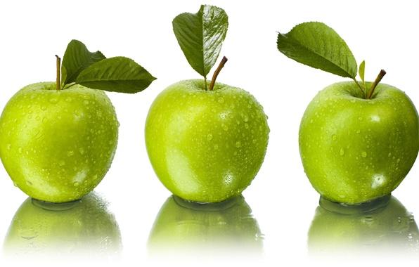 Картинка листья, вода, капли, отражение, яблоки, зелёные, белый фон