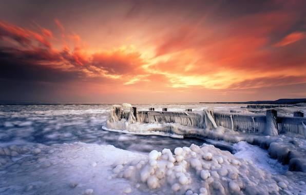 Картинка море, закат, мост, берег, лёд