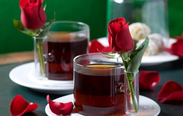 Картинка любовь, чай, романтика, настроения, роза, розы, лепестки, чашки, love, rose, напитки, нежно, гармония, праздники, harmony, …
