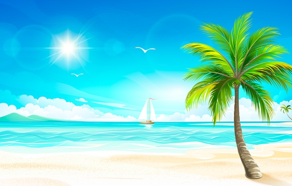 Картинка море, солнце, тропики, пальма, парусник