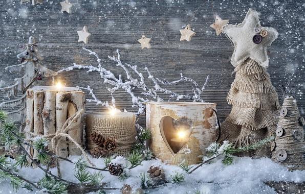 Картинка снег, украшения, свечи, Новый Год, Рождество, Christmas, vintage, New Year, decoration, Happy, Merry