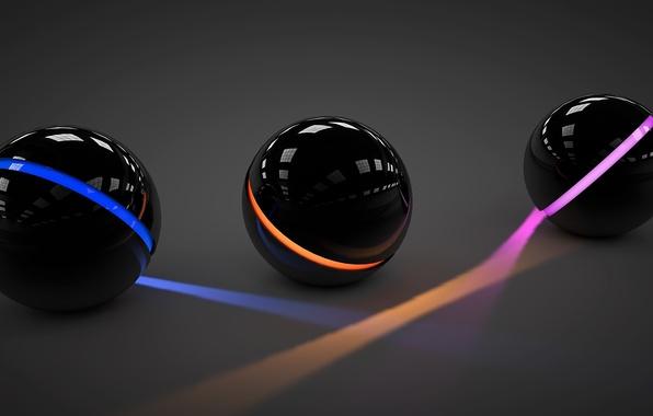 Картинка свет, линии, оранжевый, синий, отражение, розовый, шары, арт, три, сферы