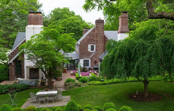 Картинка зелень, трава, деревья, цветы, дизайн, дом, газон, сад, фонтан, кусты
