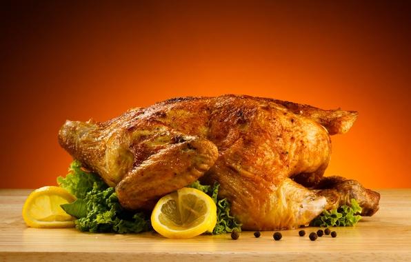 Картинка стол, лимон, курица, салат, чёрный перец