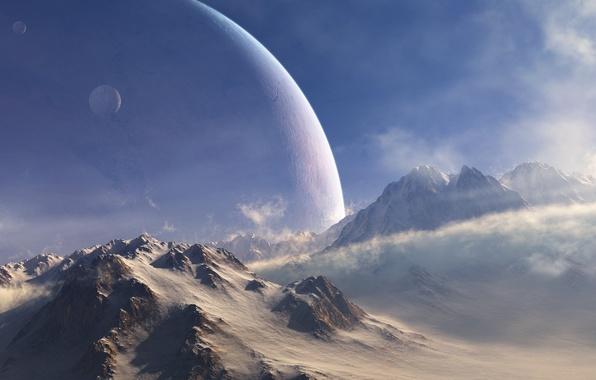 Картинка холод, снег, горы, ветер, планеты, спутник, арт