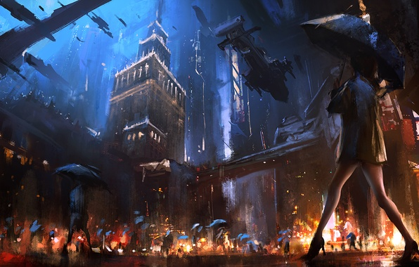 Картинка ночь, город, будущее, люди, дождь, улица, вечер, зонт, живопись, art, warsaw