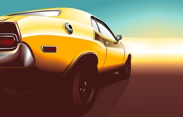 Картинка закат, жёлтый, вектор, Dodge, Challenger, мускул кар, додж, yellow, muscle car, rear, челленджер