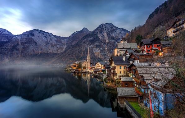 Картинка пейзаж, горы, озеро, отражение, дома, Австрия, Альпы, Austria, Hallstatt, Alps, Гальштатское озеро, Гальштат, Lake Hallstatt