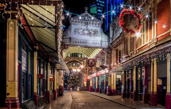 Картинка зима, дорога, свет, ночь, город, огни, улица, Англия, Лондон, здания, елка, дома, вечер, Великобритания, ёлка, ...
