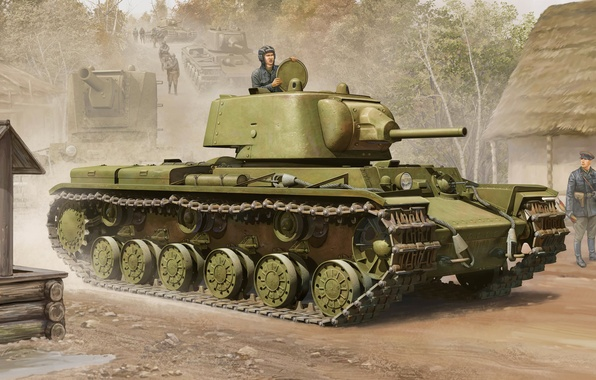 Картинка war, art, painting, tank, ww2, KV-1, Kliment Voroshilov tank