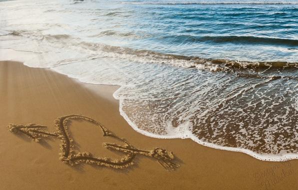 Картинка песок, пляж, любовь, романтика, сердце, рисунок, love, beach, sea, heart, sand, design by Marika