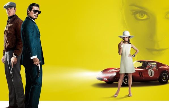 Картинка желтый, оружие, фон, пистолеты, шляпа, платье, очки, тачка, красная, в белом, свет фар, Henry Cavill, …