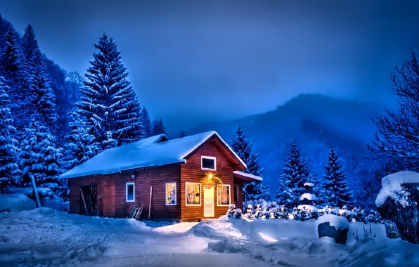 Зима снег деревья небо облака обои