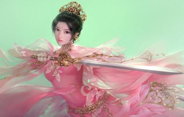 Картинка девушка, оружие, меч, фэнтези, арт, в розовом