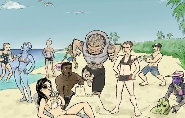 Картинка песок, море, замок, отдых, отпуск, команда, sea, Mass Effect, sand, кроган, Crew on vacation, не …