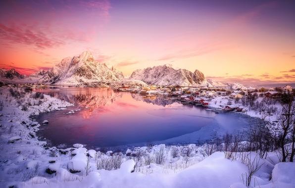 Картинка зима, снег, Норвегия, городок, север, поселение, неб