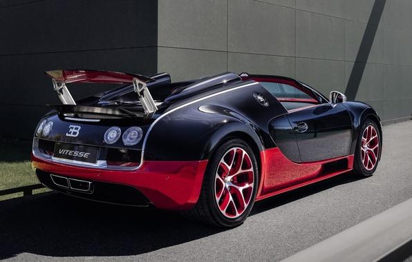 Картинка Roadster, Бугатти, Bugatti, Вейрон, Veyron, суперкар, вид сзади, гиперкар, Grand Sport, Гранд Спорт, Vitesse