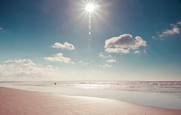 Картинка море, пляж, солнце, природа, человек, доска, сёрфер
