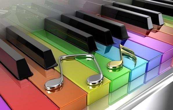 Картинка ноты, цветные, клавиши, пианино