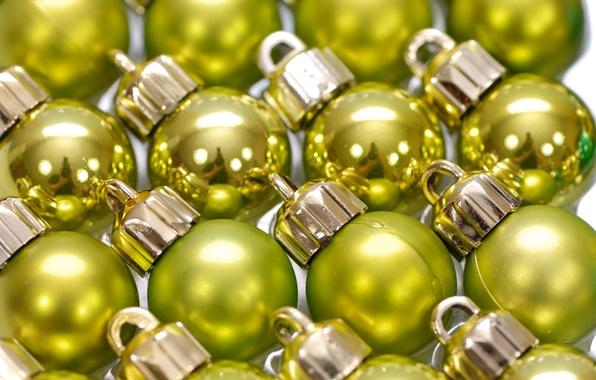 Картинка шарики, украшения, отражение, праздник, шары, блеск, новый год, много, зеркальный, ёлочные игрушки, желто-зеленые
