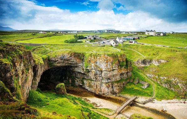 Картинка дорога, зелень, облака, пейзаж, горы, природа, дома, Шотландия, Великобритания, домики, Scotland, Great Britain, United Kingdom, …
