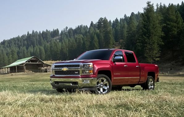 Картинка red, truck, pickup, 1500, bed, chevy, large, 2014, Chevrolet Silverado, North America, size, double cab, ...
