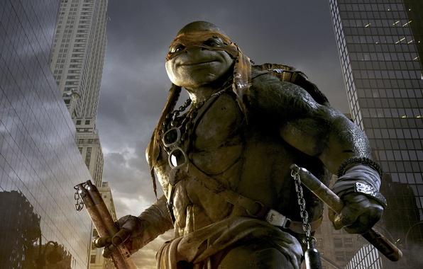 Картинка City, Orange, Action, Fantasy, Clouds, Sky, Green, Sun, with, TMNT, Wallpaper, Teenage Mutant Ninja Turtles, ...