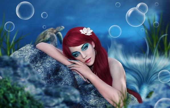 Картинка глаза, взгляд, вода, девушка, задумчивость, пузырьки, лицо, океан, камень, русалка, руки, макияж, арт, хвост, красные …
