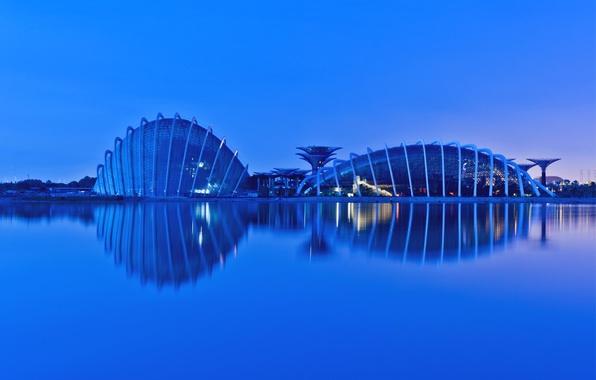 Картинка огни, отражение, вечер, подсветка, залив, Сингапур, мегаполис, evening, Малайзия, Singapore, reflection, Malaysia, Gardens By the ...