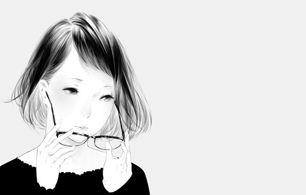 Картинка девушка, портрет, арт, очки, Sawasawa
