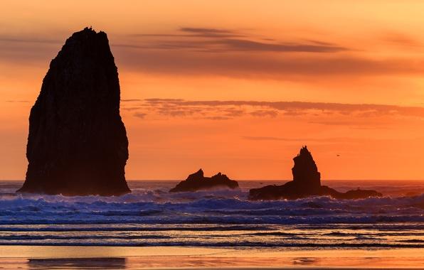 Картинка море, волны, небо, закат, скалы