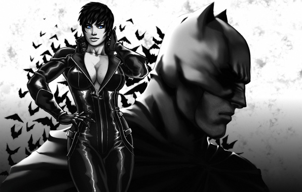 Картинка грудь, девушка, batman, the dark knight, маска, арт, костюм, красавица, Женщина-кошка, супергерой, DC Comics, Catwoman, …