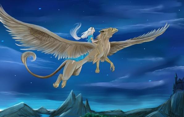 Картинка небо, девушка, звезды, полет, фантастика, крылья, существо, арт, грифон, белые волосы