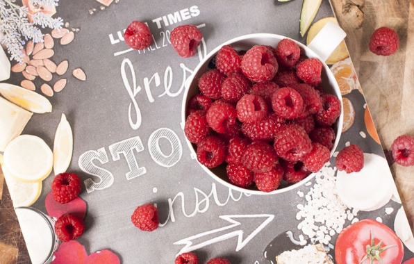Картинка лето, ягоды, малина, посуда, журнал