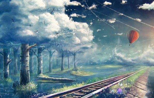 Картинка деревья, воздушный шар, рельсы, арт, железная дорога