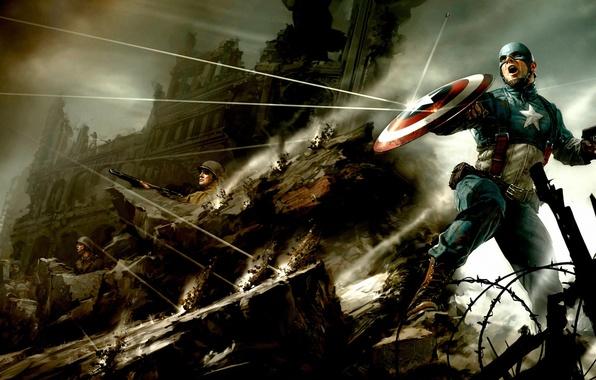 Картинка пистолет, война, солдаты, капитан, пули, Америка, щит, комиксы, супергерой, рикошет