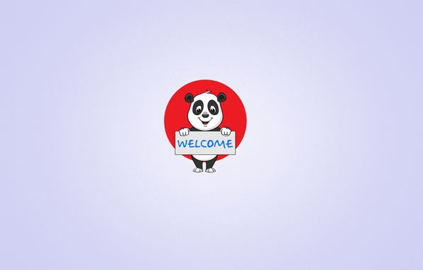 Картинка улыбка, надпись, табличка, минимализм, панда, светлый фон, welcome, panda, красный круг, добро пожаловать