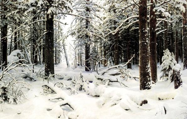 Картинка холод, лес, снег, деревья, Зима, картина, живопись, Шишкин