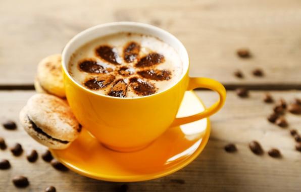 Картинка кофе, чашка, пирожное, cup, beans, coffee, макарун