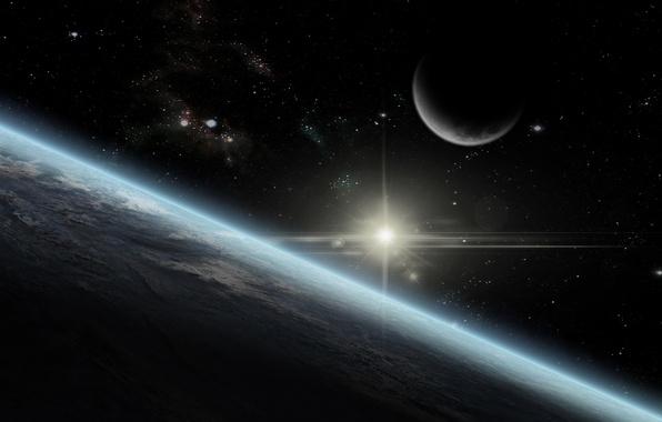 Картинка earth, moon, star, sun, atmosphere