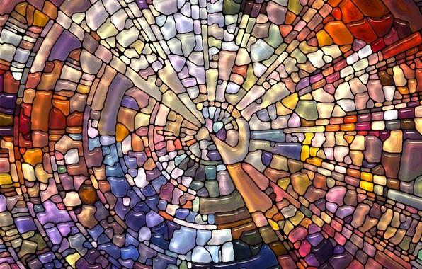 Картинка мозаика, абстракция, узор, витраж, разноцветная