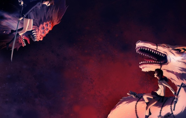 Картинка оружие, девушки, драконы, катана, битва