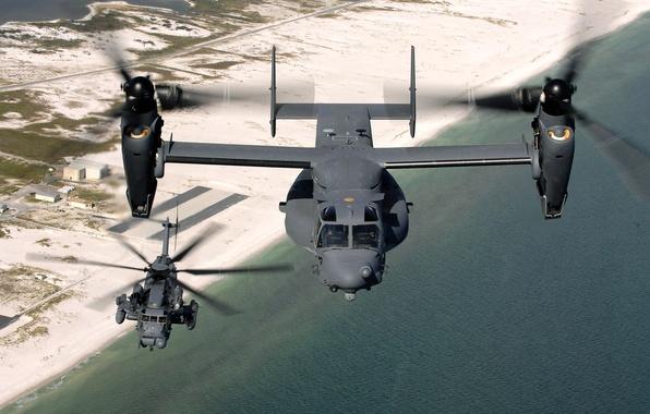 Картинка Вода, Песок, Море, Пляж, Полет, Берег, Земля, Вертолет, Высота, Военная, База, Конвертоплан, Sikorsky, MH-53J Pave …