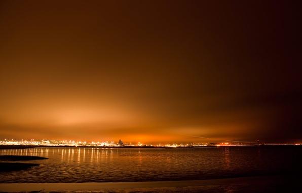 Картинка море, пейзаж, закат, природа, city, город, река