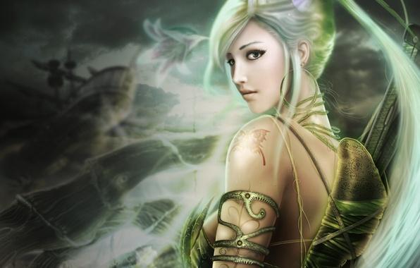 Картинка глаза, девушка, волосы, красивая, длинные, зелёные, lands of chaos