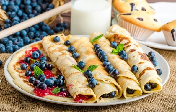 Картинка ягоды, молоко, черника, варенье, кексы, milk, блинчики, baking, Blueberries, Pancake