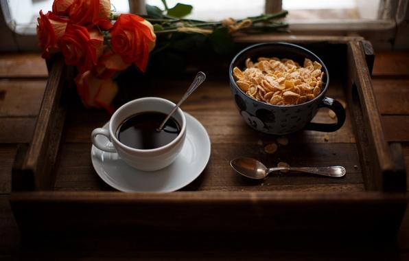Розы картинки и кофе