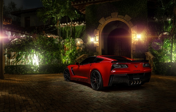 Картинка red, z06, автообои, chevrolet corvette, hq wallpaper