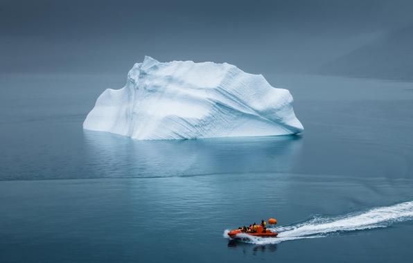 Картинка айсберг, Гренландия, спасательная шлюпка