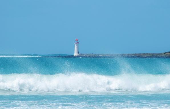 Картинка море, волны, пляж, небо, брызги, синий, маяк